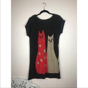 Vintage Tops - Vintage cat print mini dress tunic t-shirt
